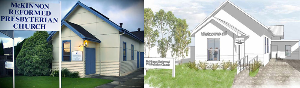 Photograph of existing church building on the left, architect's rendering on the right.